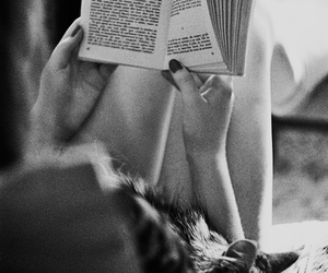 black and white, book, and girl image