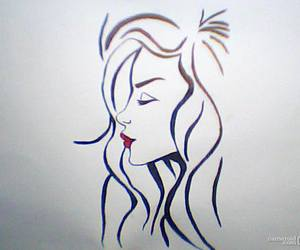 black and white, drawing, and red image