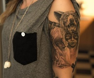 tattoo, girl, and wolf image
