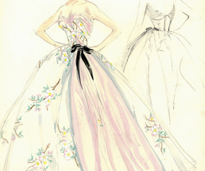 dress, drawing, and vintage image