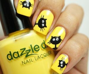 nails, cat, and yellow image
