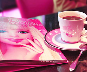 barbie, pink, and coffee image