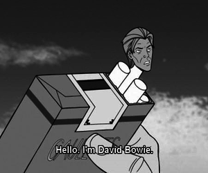 black and white, bowie, and text image