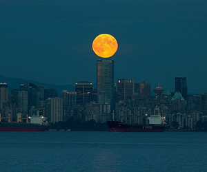 cityscape, moon, and vancouver image
