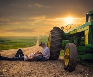 country, couple, and tractor image