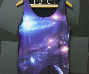 singlet, sleeveless, and galaxy shirt image
