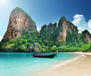 beach, thailand, and boat image