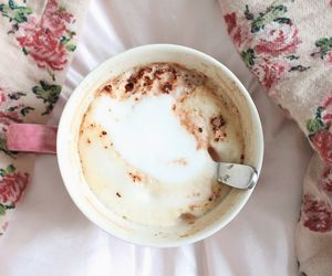 bed, chocolate, and coffee image