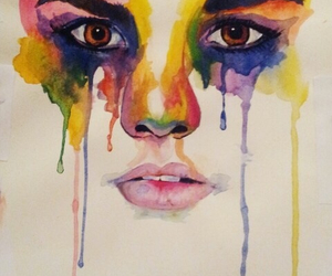 art, colourful, and tears image