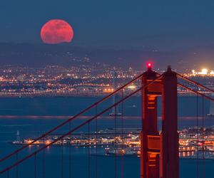 city, moon, and bridge image