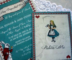 alice in wonderland, invitation, and invite image