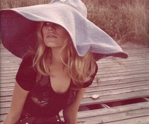 model, hat, and blonde image