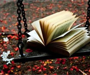 book, autumn, and swing image