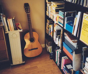 guitar, book, and music image