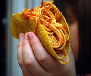 food, tacos, and spaghetti image