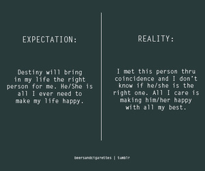 reality, expectation, and life image
