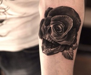 tattoo, rose, and skull image