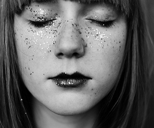 girl, glitter, and black and white image