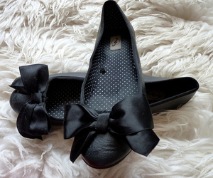 shoes, black, and bow image