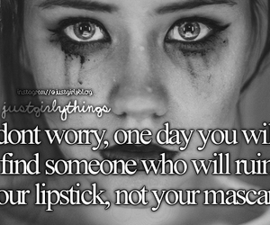 lipstick, mascara, and quote image