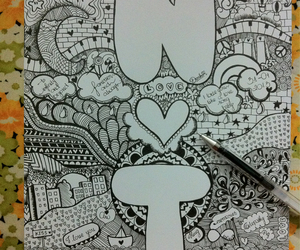 doodle, drawing, and letters image