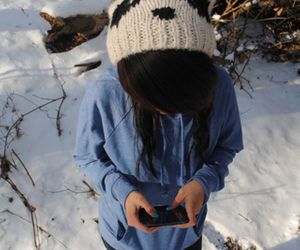 girl, hair, and snow image