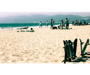 beach, skateboards, and california image