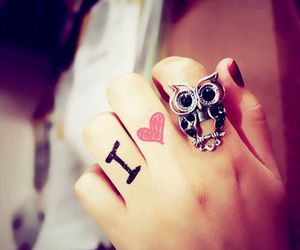 owl, ring, and heart image