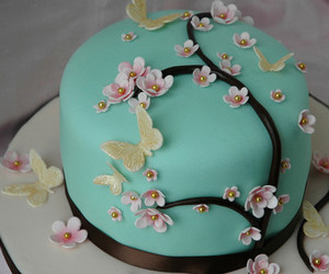 flowers, butterfly, and cake image