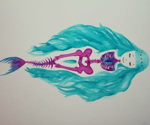 mermaid, blue, and drawing image