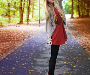 girl, autumn, and dress image
