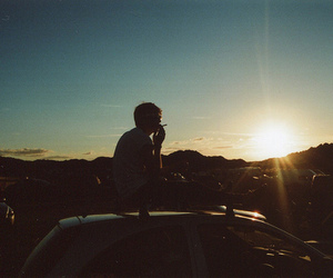 boy, cigarette, and car image