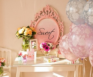balloons, sweet, and flowers image
