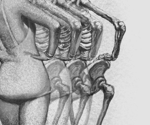 skeleton, black and white, and woman image