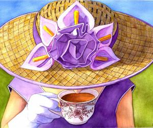 art, coffee, and flowers image