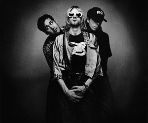 black and white, nirvana, and rock image