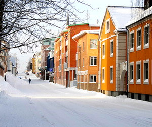 snow, sweden, and town image