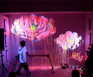 art, flowers, and neon image