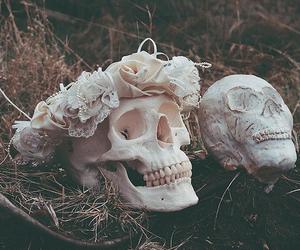 skull, flowers, and grunge image