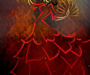 dancer, red, and drawing image