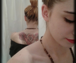back tattoo, ink, and girl image