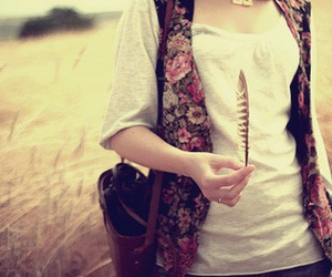 girl, feather, and vintage image