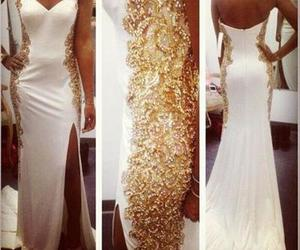 dress, gold, and pretty image