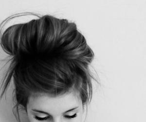 brunette, hair, and bun image