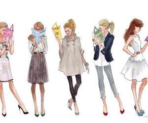 books, girls, and fashion image