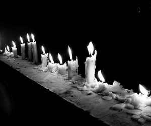black and white and candles image