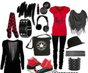 emo, red, and outfit image