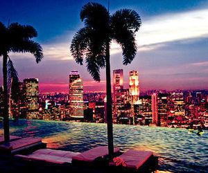 city, pool, and light image
