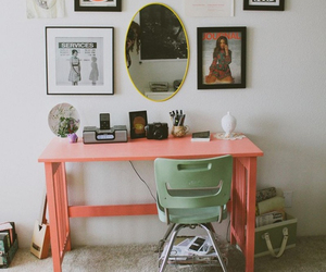 room, desk, and mirror image