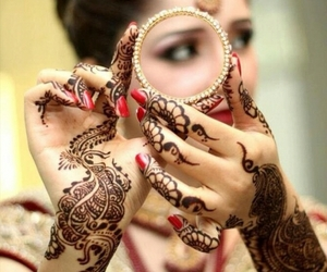 beautiful, henna, and indian bride image
